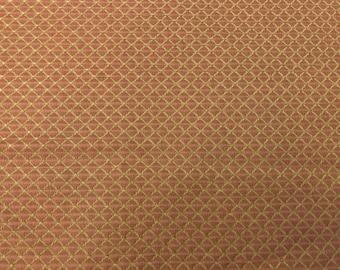 1 3/8 Yard Piece-Brown Diamond Motif On Mid-Weight Iridescent Rust Polyester Blend