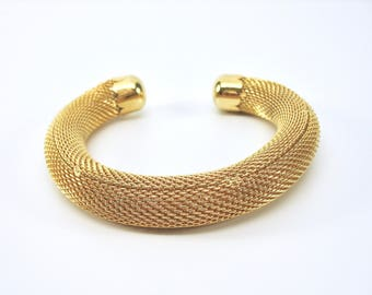 Vintage Mesh Cuff Bracelet, Gold Tone, Rounded, 1990's, Spring Look, Summer Fashion