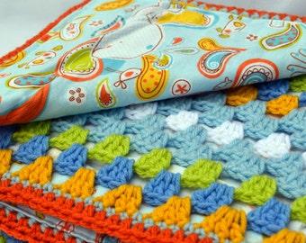 Paisley whale, baby blanket, crochet baby blanket boy, granny square blanket, reversible crochet blanket, baby afghan, nursery blanket, baby