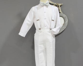 White christening ringbearer outfit toddler boys... whole white color with bow tie and suspenders.boys wedding outfit.White baptism outfit