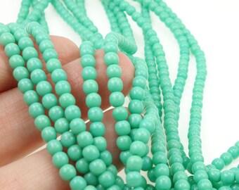 100 OPAQUE TURQUOISE 4mm Beads Czech Glass Beads 4mm Druks - Light Turquoise Green 4mm Round Beads - Czech Beads
