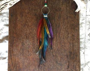 Rainbow Feather Earring, SINGLE Feather Earring , Long Earrings, Real Feather Earrings, Bohemian Earrings, Boho Jewelry, Gypsy Jewellery