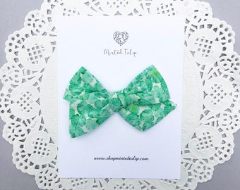 Green Tropical Palm Print Small or Large Pinwheel Bow on Headband or Hair  Clip Baby Toddler Kids