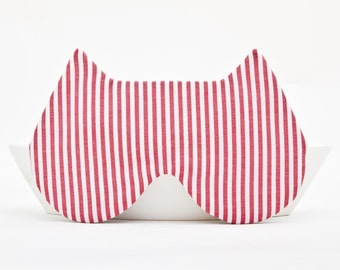 Sleep Mask, Mom Gifts for Christmas, Cat Lover Gift, Striped Cat Mask, Red Blindfold, Bachelorette Party, Travel Sleep Mask, Girlfriend Gift