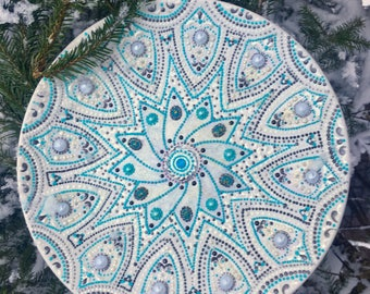Decorative plate,Vintage, Mandala, Painted plates,Mandala wall hanging,Mandala decor,Mandala gift,Ceramic decorative,Hanging plates
