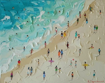 Californication; Original palette knife oil painting with deep texure details; beach painting;California beach