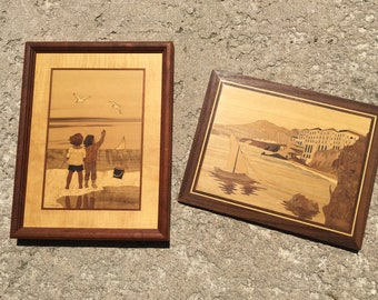 Vintage Marquetry Picture, Hudson River Inlay, Children on Beach