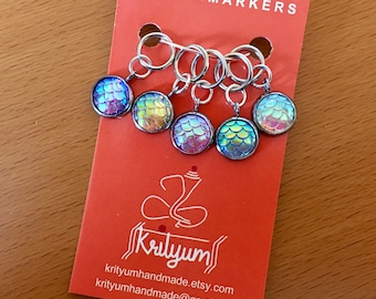 Mermaid | Dragon | Fish Scale | Iridescent | Stitch Markers for knitting or crochet - Set of 5 - charms