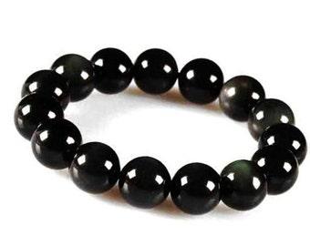 8mm Black Obsidian Bracelet, Obsidian Mens Bracelet, Women Black Obsidian Bracelet, Black Obsidian Stone Bracelet,Obsidian Stretch Bracelet