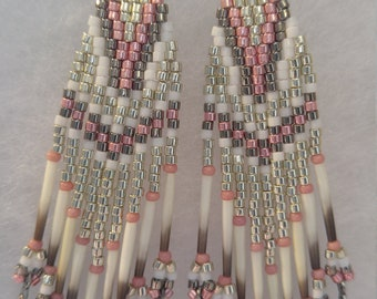 Authentic porcupine quill & glass bead earrings