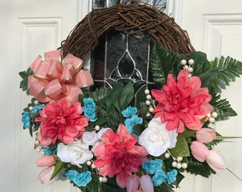 Grapevine Wreath, Summer Sale, Front Door Wreath, Spring Pastel Colors Wreath, Wreath for Spring and Summer, Peach Teal and White Flowers