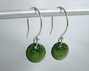 Petite Circle Enamel Earrings, Evergreen & Lime Green Ombre Kiln Fired Glass Enamel, Sterling Silver Hooks, Small Dangle Earrings