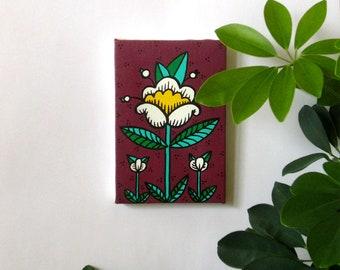 tout petit tableau - printemps - fleur blanche sur fond bordeaux