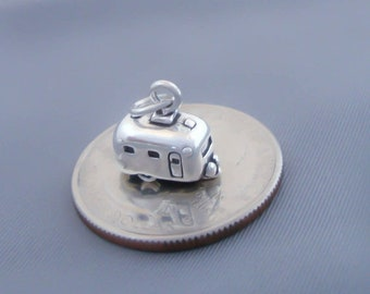 1 Sterling Silver Travel Trailer Airstream Charm, 3D, Made in USA
