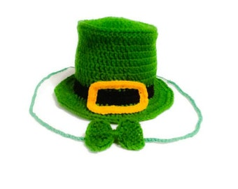 Leprechaun Baby Hat, St Patty Day Set, Saint Patrick Gift, Newborn Hat and Tie, Irish Baby Outfit, Cylinder Hat , Top Infant Cap, Celtic Day