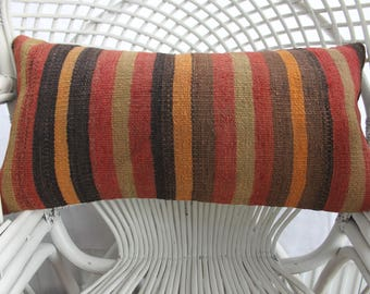 faded pillow striped pillow handmade pillow 12x24 vintage turkish pillow case kilim lumbar pillows cushion cover 30x60 cm throw pillows 1517