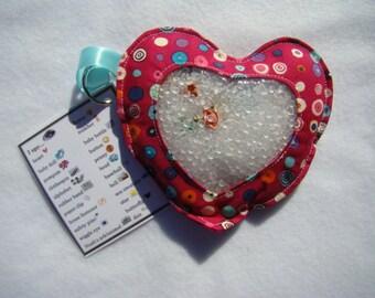 dark pink multi colored dots Heart  I Spy bag