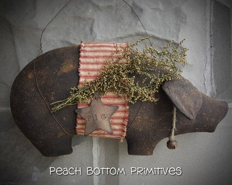 ePattern~Primitive Piggy Wall Hanger Sewing Pattern PDF File, Instant Download