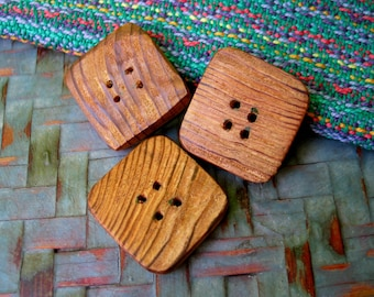 007 Three natural, rectangular, sequoia wood buttons, handmade, one of a kind.