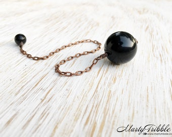 Obsidian Ball Crystal Pendulum, Copper Stone Dowsing Pendulum, Metaphysical Healing, Scrying, Divination Stone, Fortune Telling, Wiccan Tool