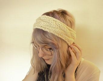 Chunky Cable Knit Wool Headband Earmuff | Vanilla White