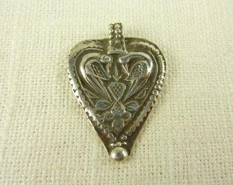 Vintage Sterling Tribal Heart Shaped Pendant