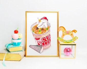 Studio Ghibli Watercolor Spirited Away Radish Spirit Cup Noodle Art Print