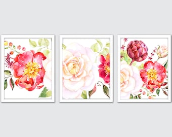 Set of 3 Prints, Floral Nursery Wall Art, Rose Wall Decor, Watercolor Flowers, Rose Nursery Decor, White and Pink Rose Nursery Room
