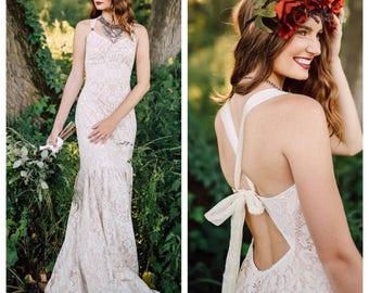 Boho Wedding Dress, Wedding Dress, Lace wedding Dress, Bohemian Wedding Dress, Backless wedding dress, Trumpet Wedding Dress, Beach wedding