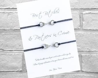 Best Bitches Wish Bracelet - Partners in Crime - Handcuffs Friendship Bracelet - best Friend Gift - Wish Bracelet