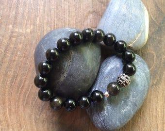 Stunning Gold/Black Obsidian & Sterling Silver Bracelet