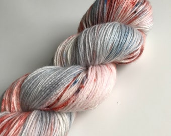 One of a kind hand dyed yarn (80 super wash merino 10 Cashmere 10% nylon) 4 ply / fingering weight