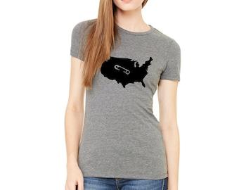 Safety Pin Shirt / Tshirt Safety Pin / USA Shirt / Safety Pin Shirt / Women's Grey T-shirt