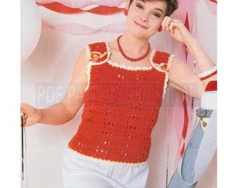 1980s Crocheted Sleeveless Summer Top Size 8-18 Instant Download PDF 2 pages