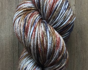 Hand Dyed Yarn, Worsted Weight 4ply, 100% Superwash Merino Wool, Precious Metals on Hearty Worsted Yarn