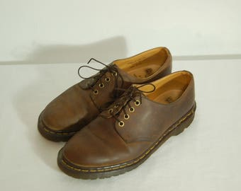 Men 10 US 9 UK Dr Martens Airwair Brown Leather Shoes Made in England