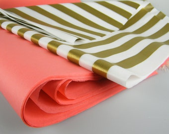 Coral and Gold Striped Tissue paper sheets | Coral Gold Baby Shower Bridal Shower | Coral Party Gift Wrap | DIY Pom Pom Craft Supplies