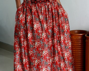 Red Skirt / Tribal Maxi Skirt / Floral Skirt with Pockets / Summer Skirts