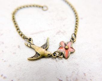 Swallow bracelet, floral bracelet, boho bracelet, boho jewelry