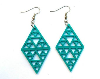 3D printed diamond shaped earrings / many colors available