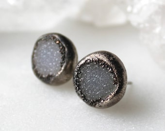 HUGE SALE druzy studs, white druzy, silver druzy studs, silver studs, electroformed, post earrings, gifts for her