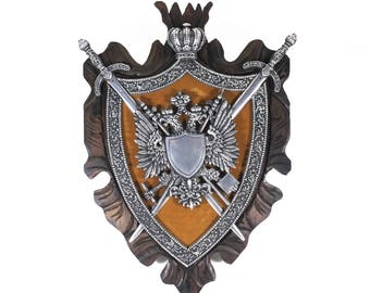 """Shield with Swords, Large 27"""" Medieval Coat of Arms, Wooden Shield with Crossed Swords and Griffin Design, 27"""" x 19"""" Wall Art Plaque"""