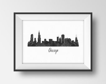 Chicago City Skyline Printable, Chicago Silhouette Print, Chicago Poster, Black White Wall Art Decor, Illinois Cityscape, Office decoration