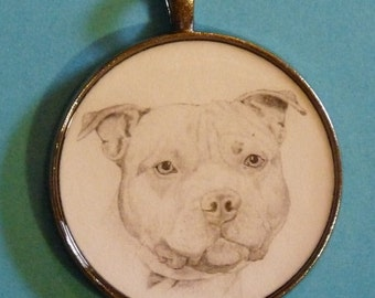 Staffordshire Bull Terrier Original Pencil Drawing Pendant with Organza Pouch -Choice of Necklaces -Free Shipping- Desert Impressions