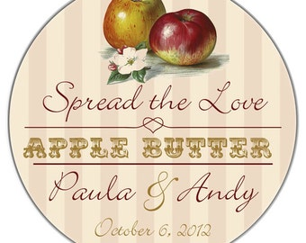Personalized Apple Fruit Spread the Love Glossy Wedding Stickers Favor Labels - Peaches, Strawberries, Pears, Etc - 100 2 Inch Round