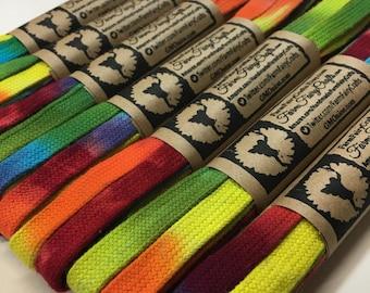 "Rainbow Tie Dye Shoe Laces 63"""