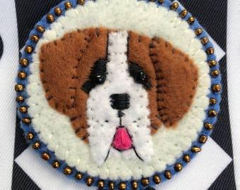 St. Bernard dog handsewn felt brooch