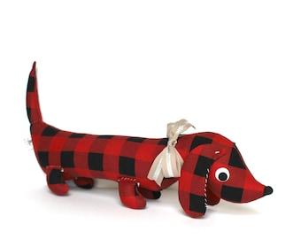 Stuffed Wiener Dog, Plush Dachshund, Weiner Dog Stuffie, Unique Kids Gift, Buffalo Plaid