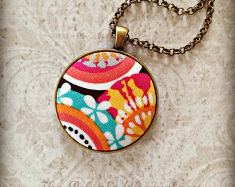 Summer Brights Necklace~ Antique Bronze Necklace  Bohemian Necklace Hippie Wedding Bridesmaid Gift Fabric Necklace Gifts for Her
