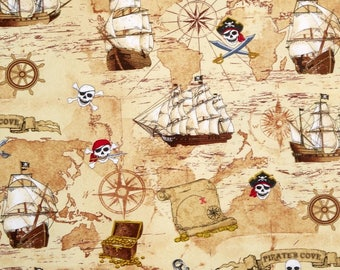 Fat Quarter Pirates Treasure Map Olde Worlde Sewing Cotton Quilting Fabric